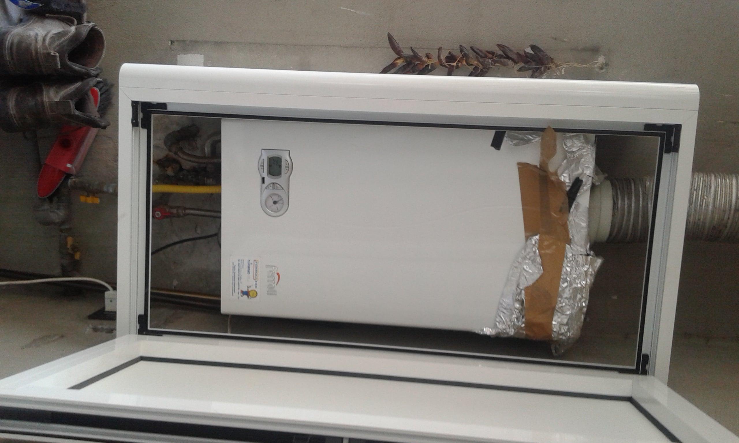 copricaldaia da esterno in alluminio
